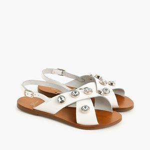 New JCREW Cross-strap slingback sandals jewels